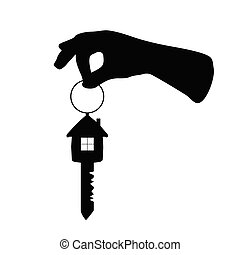 key with house on it and arm vector illustration
