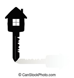 key with house on it vector illustration on a white...