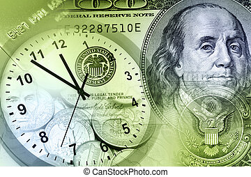 Clock and cash - Time is money concept