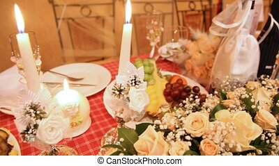 Wedding festive table with champagne fruit flowers and...