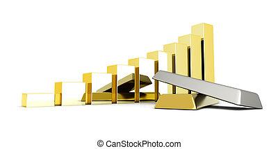 Rising precious metals - Rising value of precious metals. 3D...