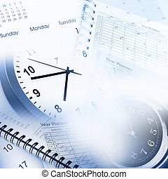 Time management - Clock faces, calendar and diary pages
