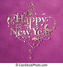 Happy New Year - Beautiful hand-made ornamental typography...