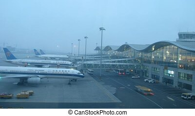 Planes CHINA SOUTHERN stands on aircraft parking, near...