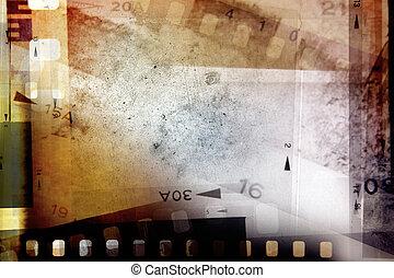 Film negatives - Film negative frames on grunge background
