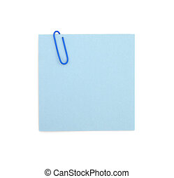 Sticky note and paperclip - A close up of a paperclip on a...