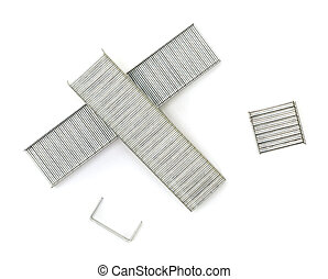 Staples - A close up of a collection of staples shot against...