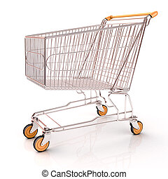 Shopping cart isolated on white background with light...