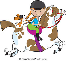 Horsey Holly - A little girl riding a painted pony with a...