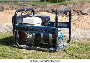 Gasoline Powered Portable Generator at construction site