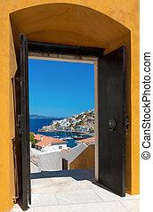 porta, isola, attraverso, idra, grecia, aperto