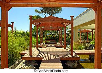 madeira, Pavilhão, convés, tropicais, plantas,...