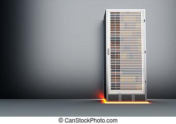 Metal Server room - A dark server room. 3D rendered...