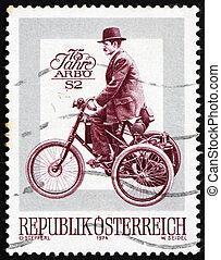 taxa postal, 1974, triciclo, selo, dion, de, Áustria, motor,...