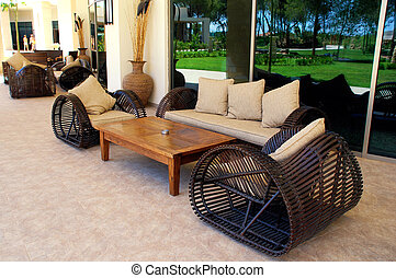 outdoor furnitures on luxury resort - wicker outdoor...
