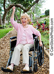 Disabled Senior Success - Disabled senior lady in pink,...
