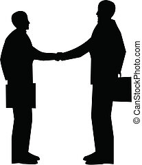 business meeting - two men shaking hands with briefcases in...