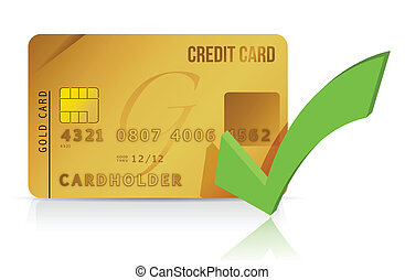 credit card and check mark illustration design