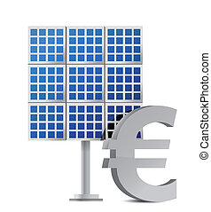 solar panel and euro sign