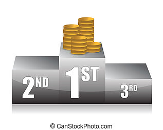 podium with coins illustration