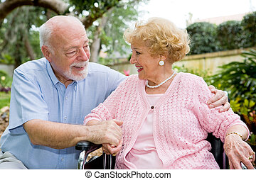 Senior Couple Great Relationship - Senior couple talking and...