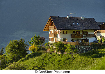 White chalet in Tyrol region of Italy - Traditional white...