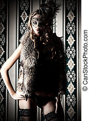 woman in mask - Gorgeous young woman in mask wearing sexual...