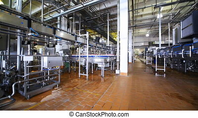 Milk bottles move on conveyor at Wimm-Bill-Dann plant -...