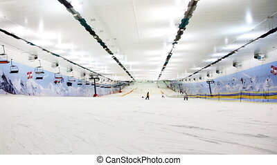 wide view of ski winter sector in big close sport center