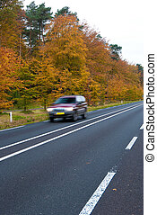 car on autumn road - Autumn Road
