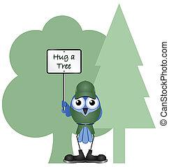 hug a tree - Environmental hug a tree message isolated on...