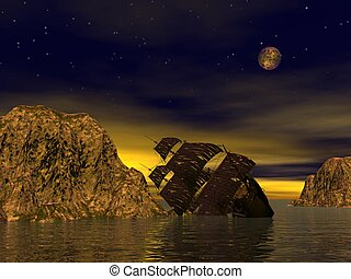 Wreck old boat in the sea by yellow starry night