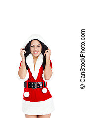 Christmas girl - wear Santa Clause costume, attractive...