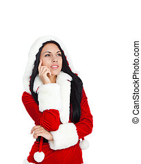 Christmas girl - young happy smile woman wear Santa Clause...