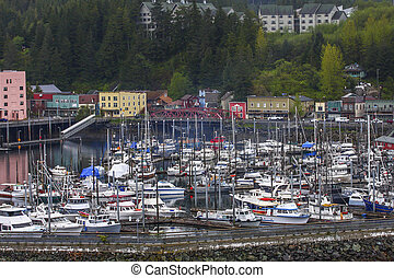 Busy Harbor in Ketchikan