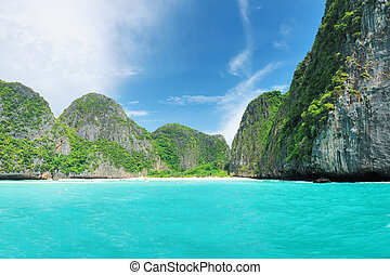 The Beach - Beautiful lagoon at Phi Phi Ley island, the...