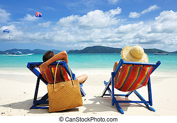 Couple on a beach - Couple on a tropical beach