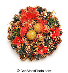 Christmas wreath - Traditional christmas wreath isolated on...