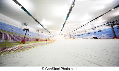 side and wide view of ski winter sector in close sport...
