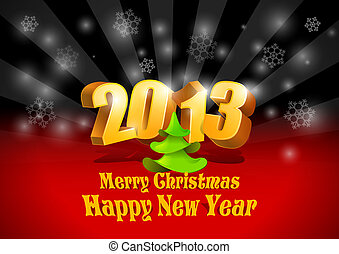 2013 New Year card. - 2013 3D numbers. Happy New Year card...