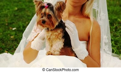 bride sits on grass in white dress and irons small terrier...