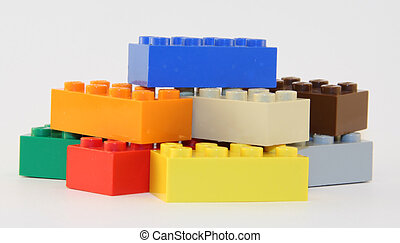 Colorful Toy BLocks - Side view of a pile of multiple...