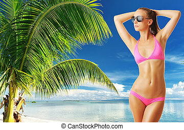 Woman with beautiful body at beach - Woman with beautiful...