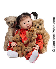 Baby Doll and Bears - asian Baby Doll and Teddy Bears...