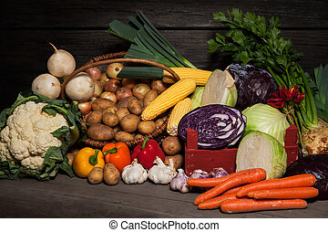 Farmer's Market - Organic Vegetables - A selection of autumn...