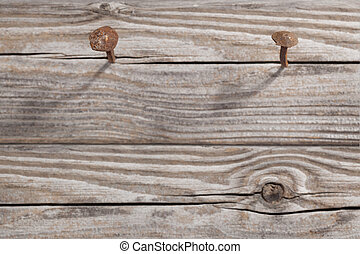 Old Wooden Planks and two rusty Nails - Antique rusty nail...