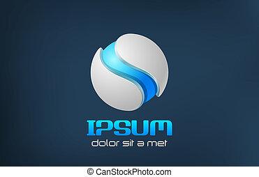 Sci-fi logo. - Hi-tech blue sphere icon. Sci-fi logo....