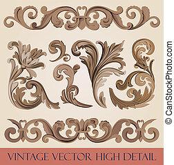 Floral elements. - Vintage floral design elements...