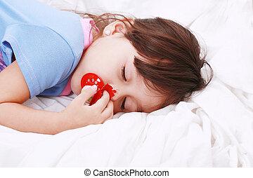 Sweet happy little girl sleeping - sweet happy little girl...