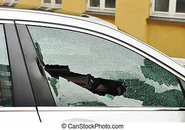 Broken passenger window, car theft